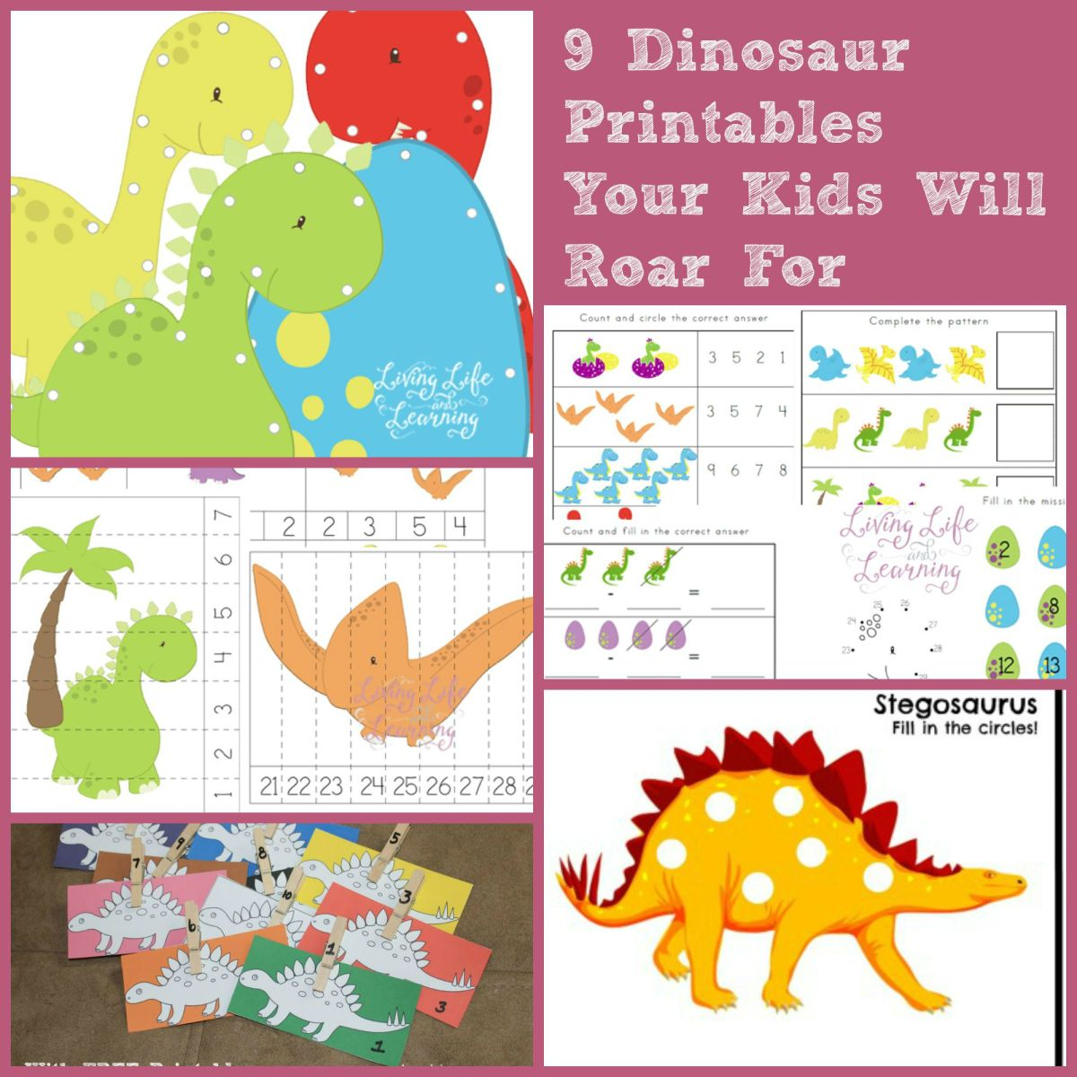 9 Dinosaur Printables To Roar For!